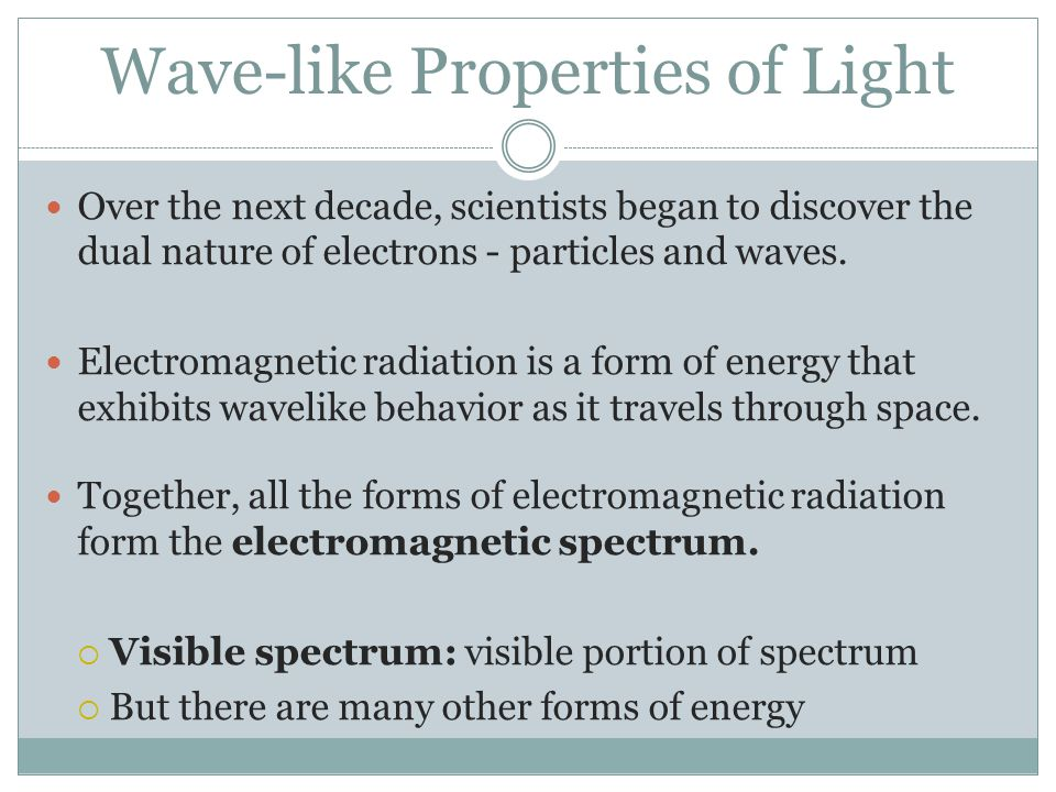 Wave-like Properties of Light