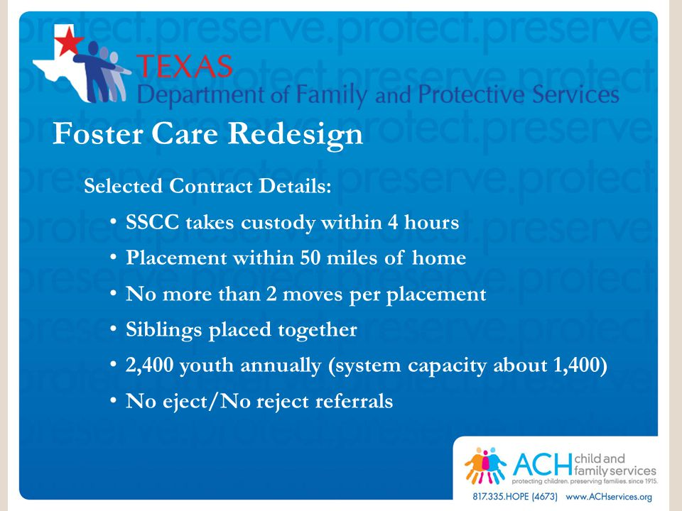 Foster Care Redesign Selected Contract Details: