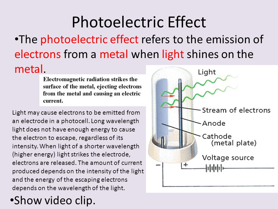 Photoelectric Effect The photoelectric effect refers to the emission of electrons from a metal when light shines on the metal.