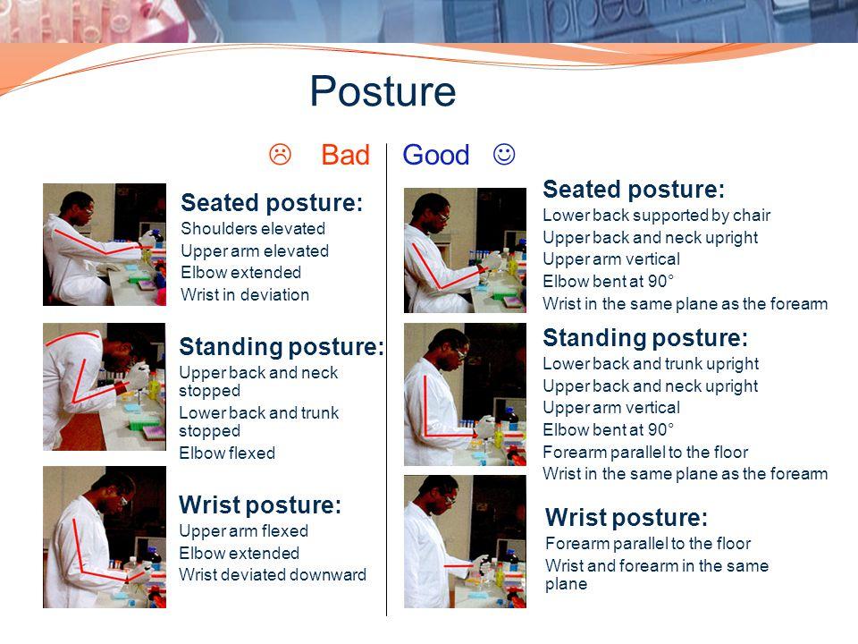 Posture L Bad Good J Seated posture: Seated posture: Standing posture:
