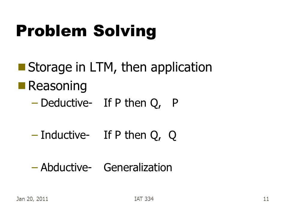 Problem Solving Storage in LTM, then application Reasoning