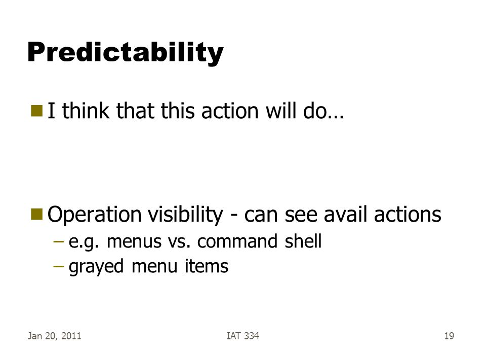 Predictability I think that this action will do…