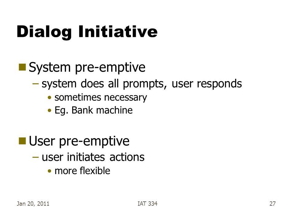 Dialog Initiative System pre-emptive User pre-emptive