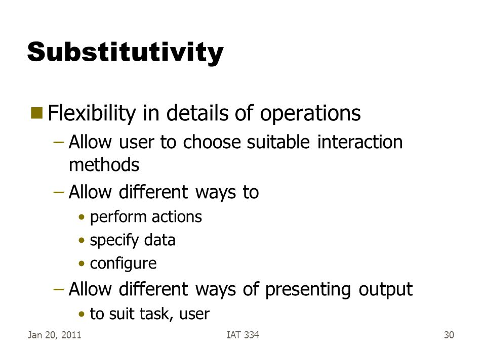 Substitutivity Flexibility in details of operations