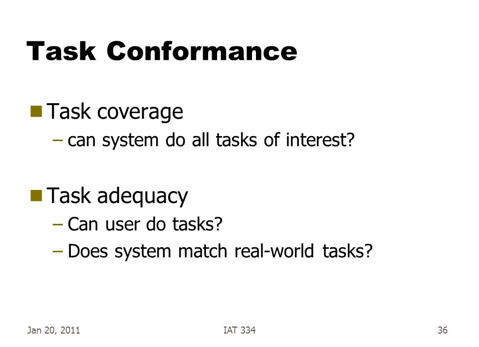 Task Conformance Task coverage Task adequacy