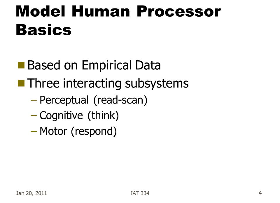 Model Human Processor Basics