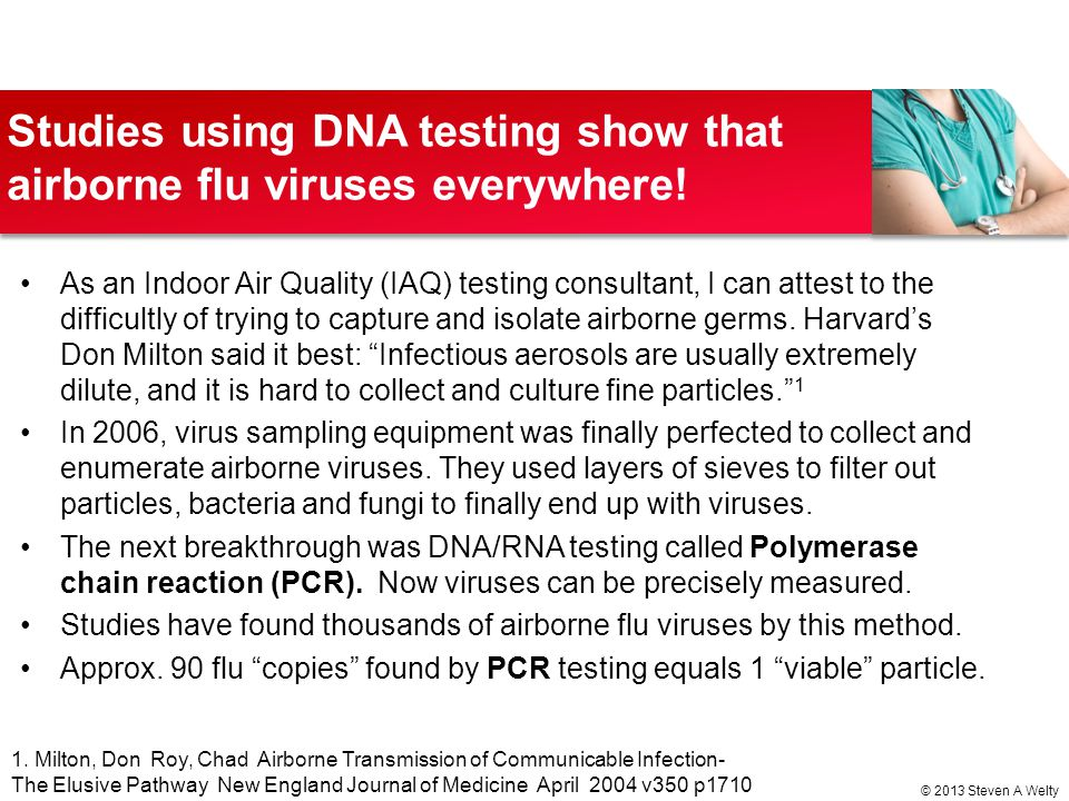 Studies using DNA testing show that airborne flu viruses everywhere!