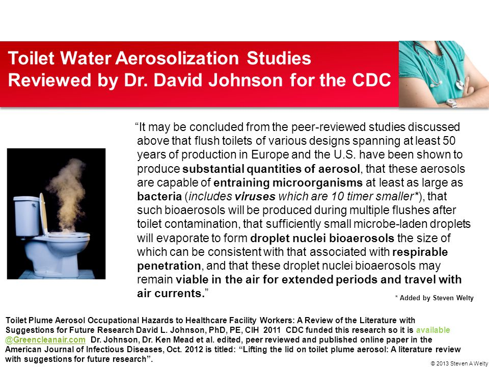 Toilet Water Aerosolization Studies Reviewed by Dr