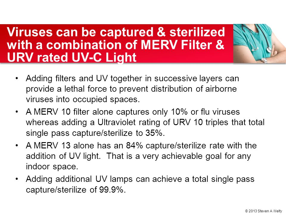 Viruses can be captured & sterilized with a combination of MERV Filter & URV rated UV-C Light