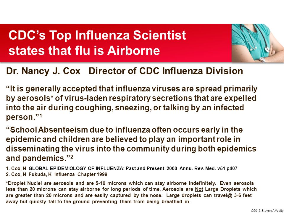 CDC's Top Influenza Scientist states that flu is Airborne