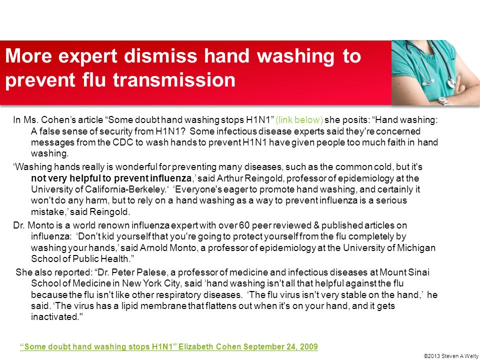 More expert dismiss hand washing to prevent flu transmission