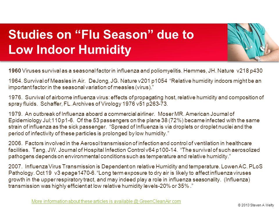 Studies on Flu Season due to Low Indoor Humidity