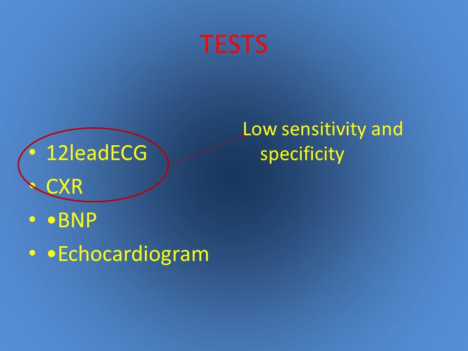 TESTS 12leadECG CXR •BNP •Echocardiogram
