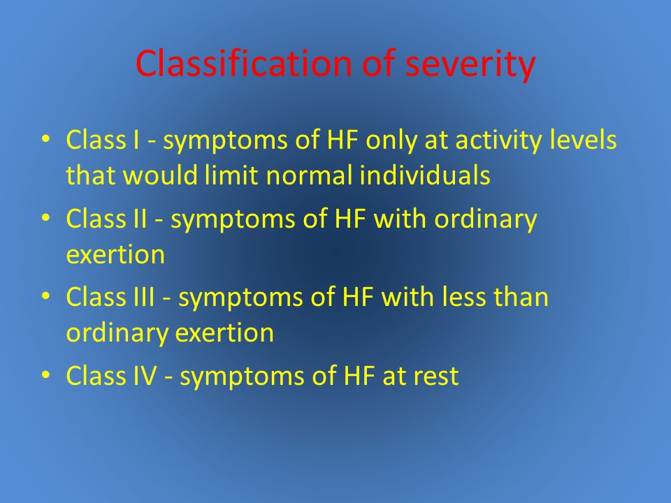 Classification of severity