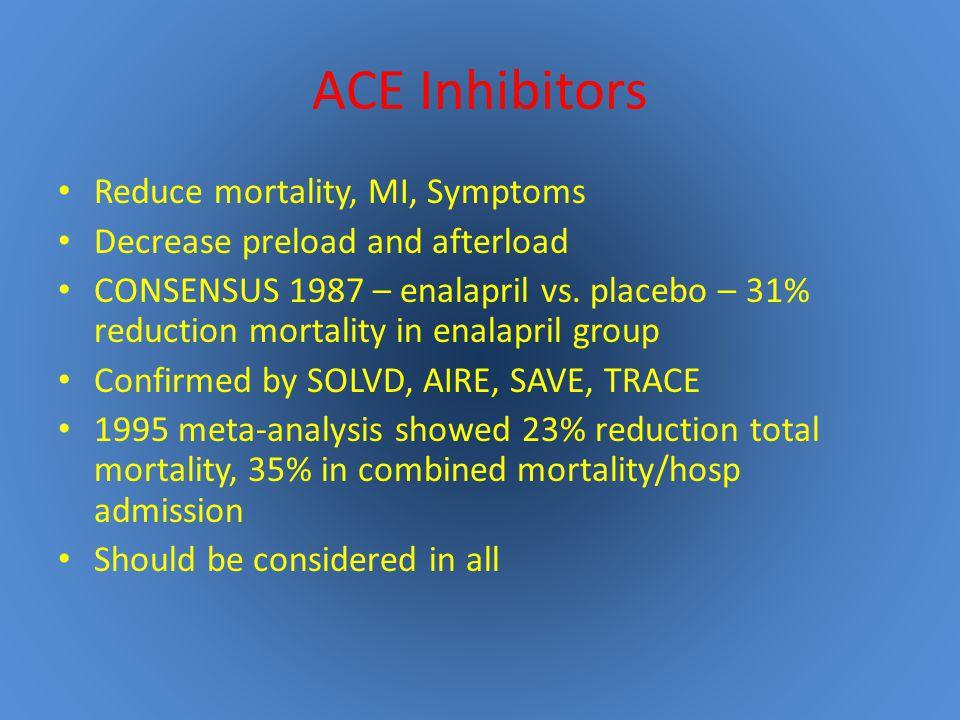 ACE Inhibitors Reduce mortality, MI, Symptoms