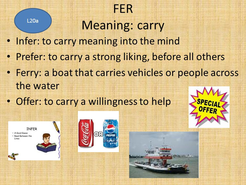 FER Meaning: carry Infer: to carry meaning into the mind