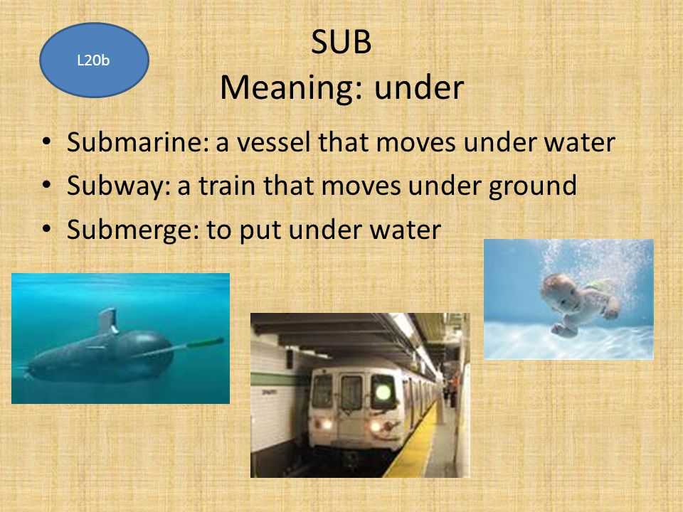 SUB Meaning: under Submarine: a vessel that moves under water