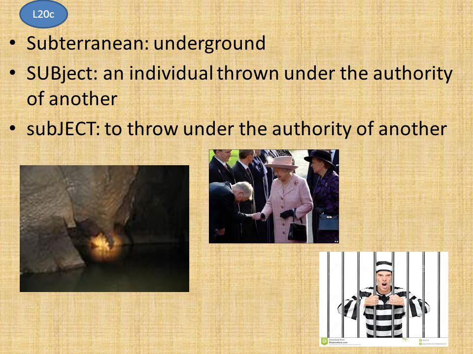Subterranean: underground