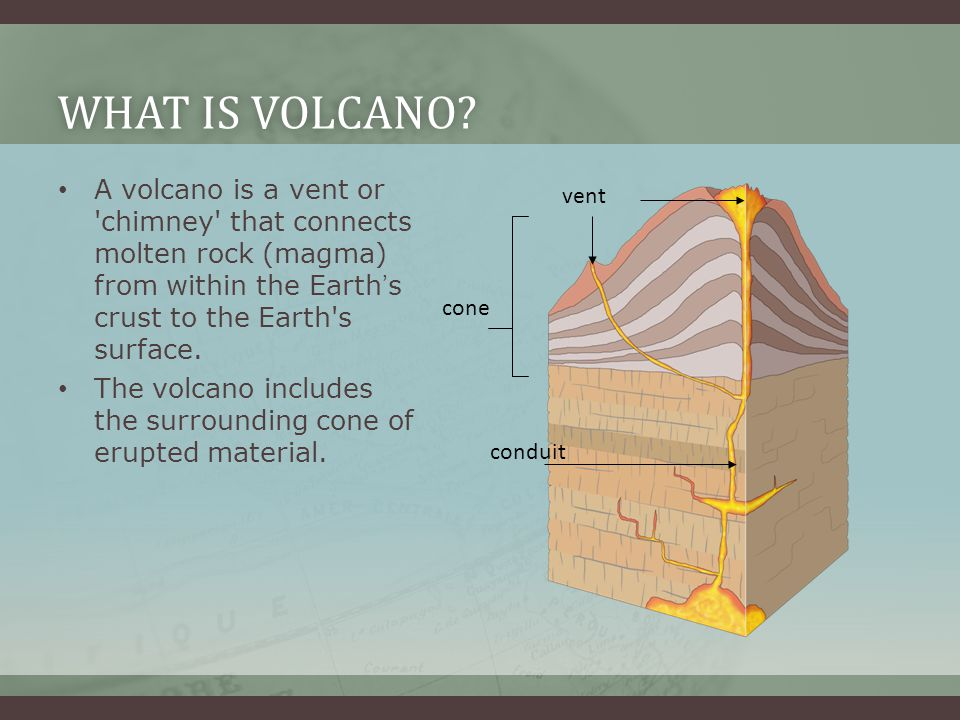 What is volcano A volcano is a vent or chimney that connects molten rock (magma) from within the Earth's crust to the Earth s surface.