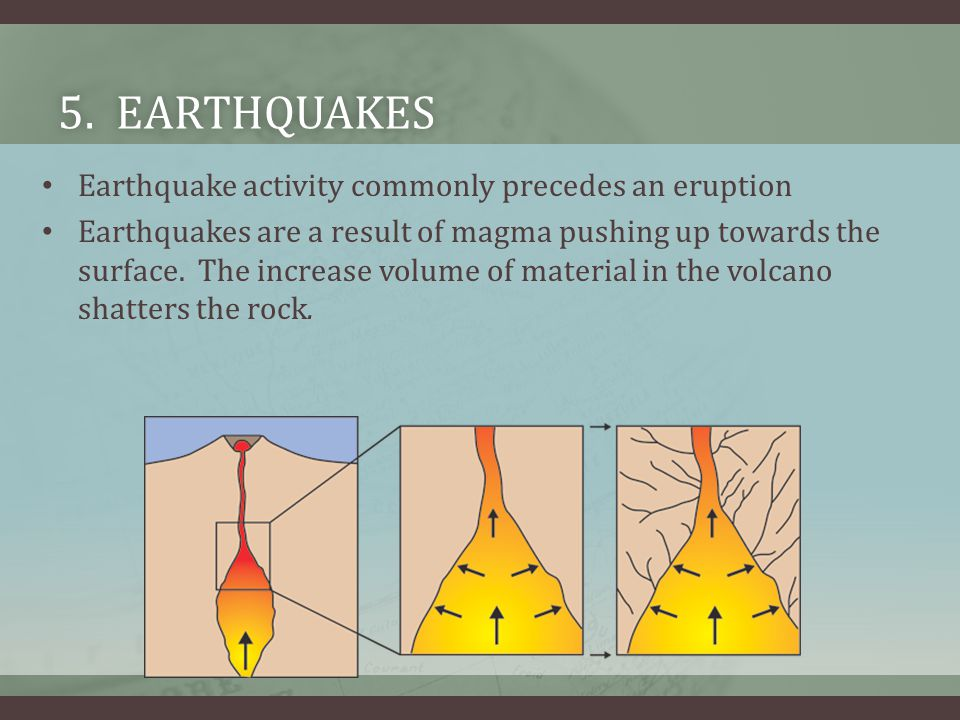 5. Earthquakes Earthquake activity commonly precedes an eruption
