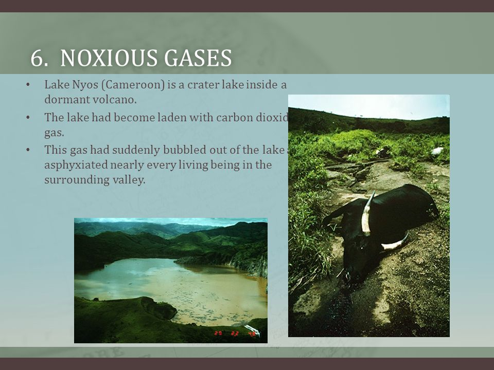 6. Noxious gases Lake Nyos (Cameroon) is a crater lake inside a dormant volcano. The lake had become laden with carbon dioxide gas.