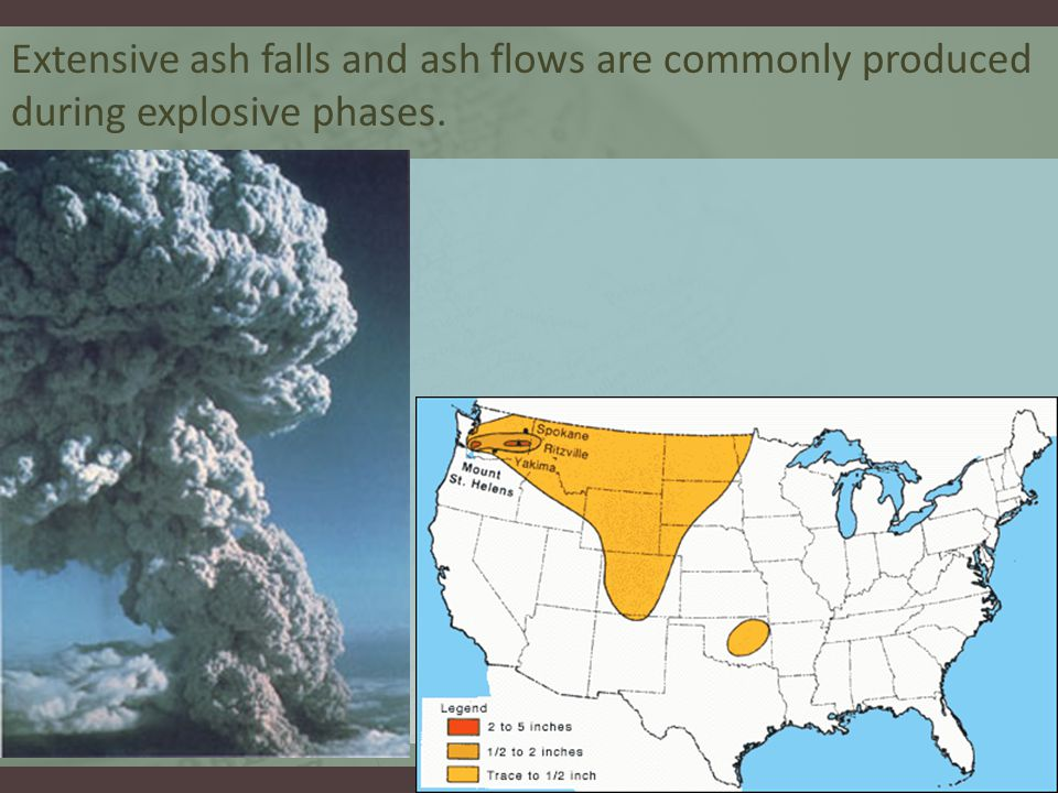Extensive ash falls and ash flows are commonly produced during explosive phases.