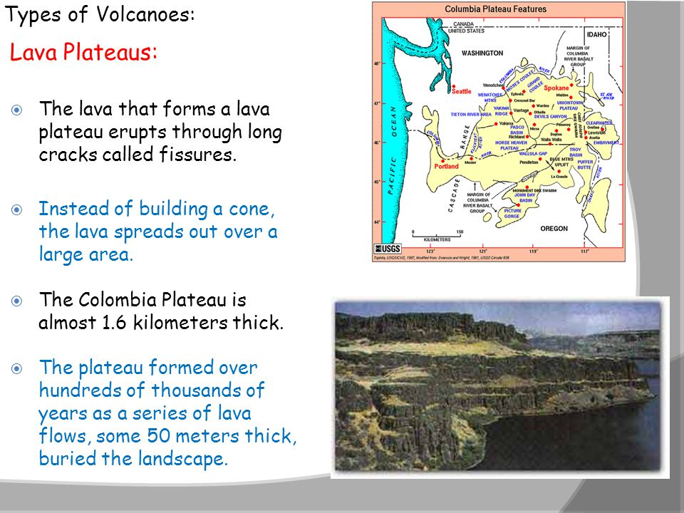 Lava Plateaus: Types of Volcanoes: