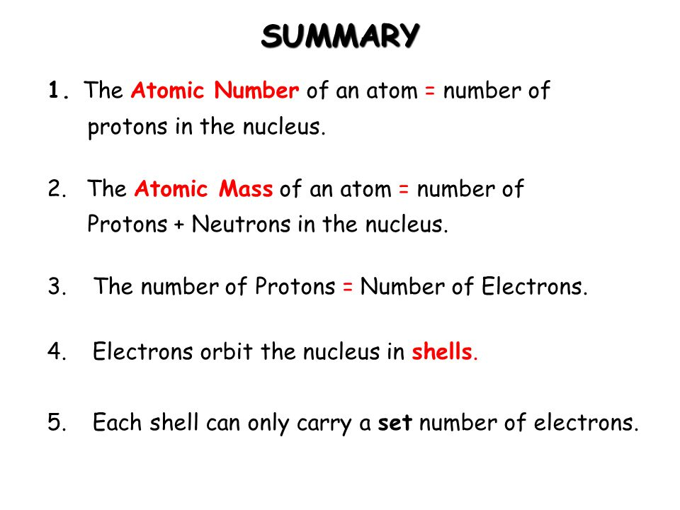 SUMMARY The Atomic Number of an atom = number of