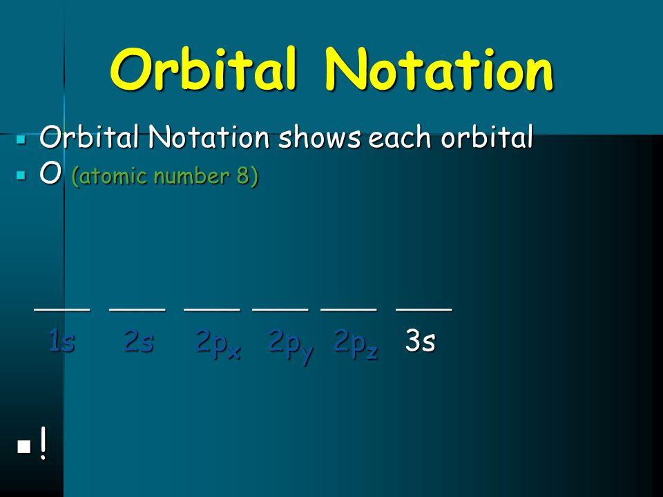 Orbital Notation ! ____ ____ ____ ____ ____ ____ 1s 2s 2px 2py 2pz 3s