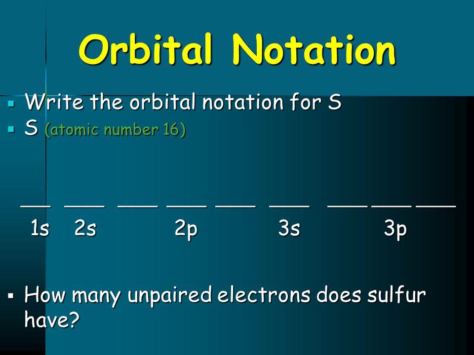 Orbital Notation ___ ____ ____ ____ ____ ____ ____ ____ ____