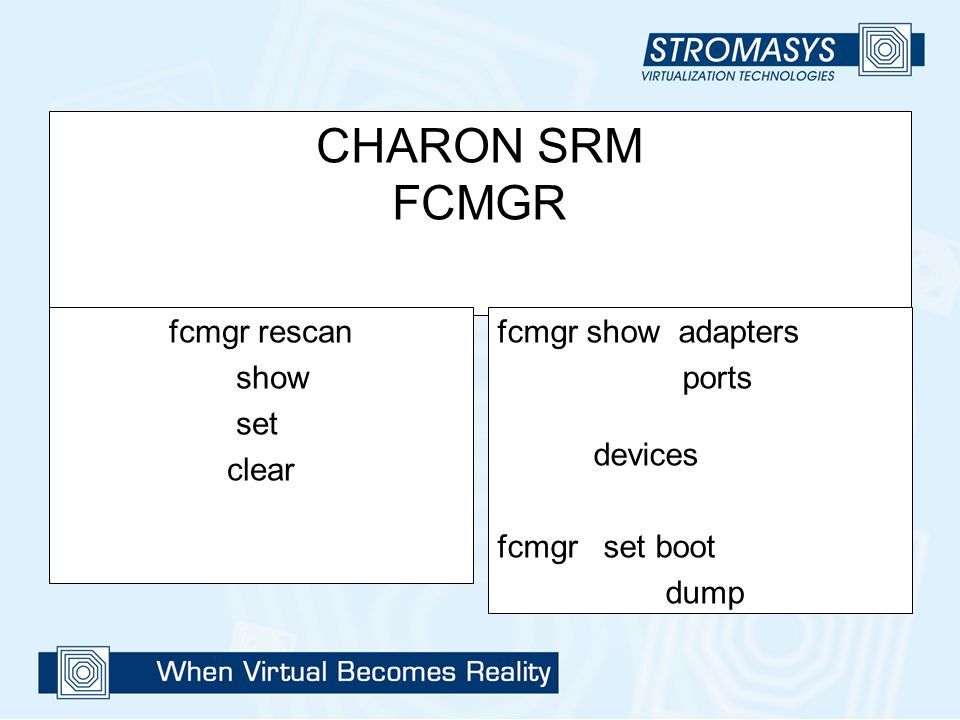 CHARON SRM FCMGR fcmgr rescan show set clear fcmgr show adapters