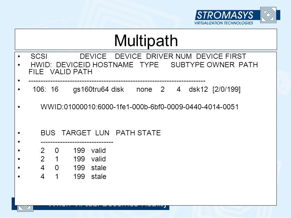 Multipath SCSI DEVICE DEVICE DRIVER NUM DEVICE FIRST