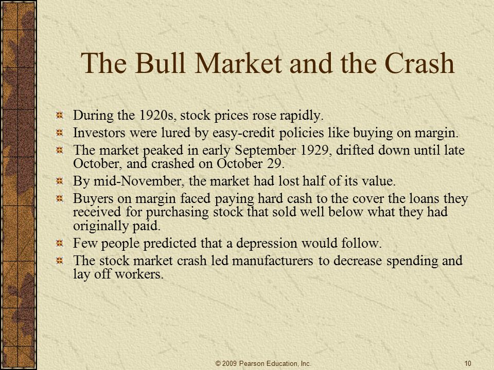 The Bull Market and the Crash
