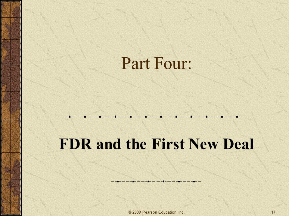 FDR and the First New Deal