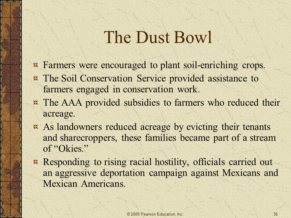 The Dust Bowl Farmers were encouraged to plant soil-enriching crops.