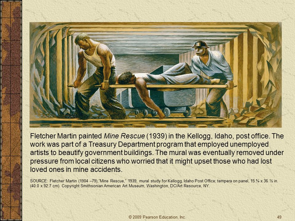 Fletcher Martin painted Mine Rescue (1939) in the Kellogg, Idaho, post office. The work was part of a Treasury Department program that employed unemployed artists to beautify government buildings. The mural was eventually removed under pressure from local citizens who worried that it might upset those who had lost loved ones in mine accidents.
