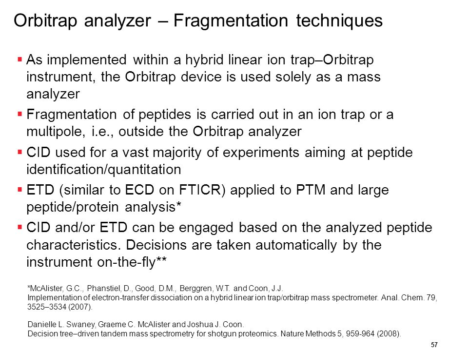 Orbitrap analyzer – Fragmentation techniques