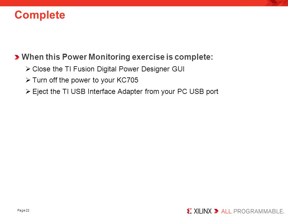 Complete When this Power Monitoring exercise is complete: