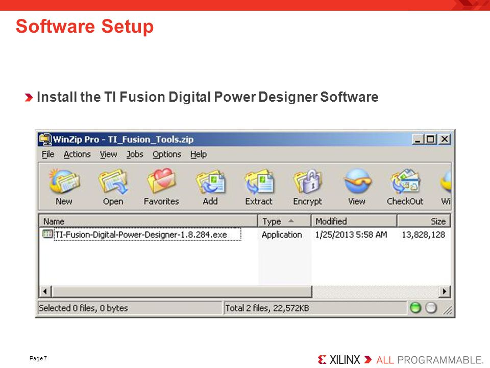 Software Setup Install the TI Fusion Digital Power Designer Software