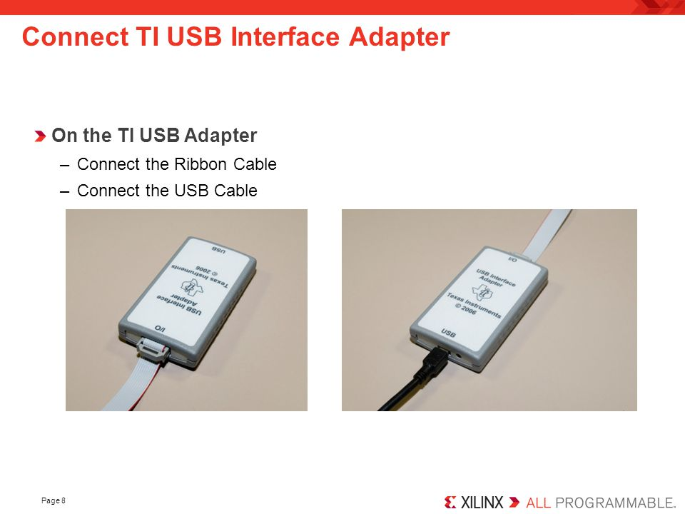Connect TI USB Interface Adapter