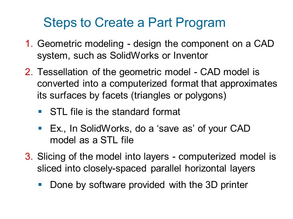 Steps to Create a Part Program