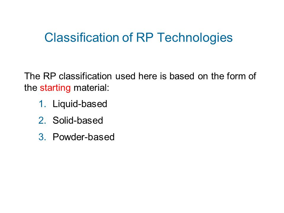 Classification of RP Technologies