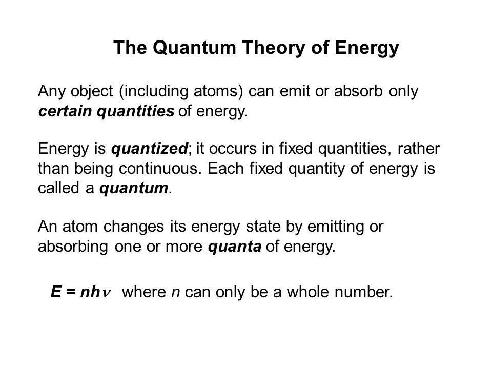 The Quantum Theory of Energy