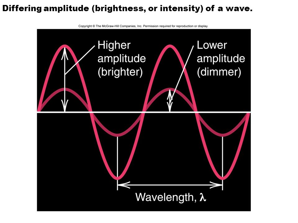 Differing amplitude (brightness, or intensity) of a wave.