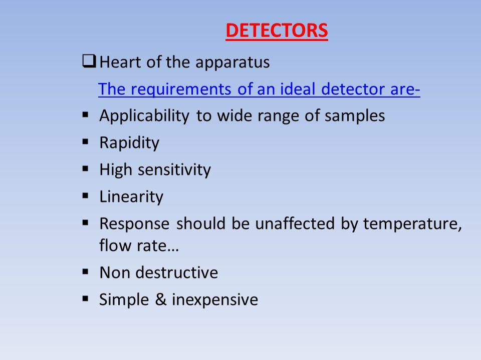 DETECTORS Heart of the apparatus