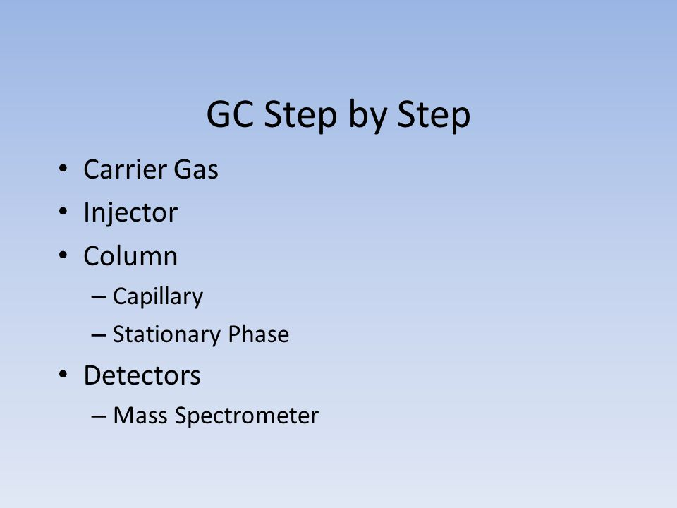 GC Step by Step Carrier Gas Injector Column Detectors Capillary