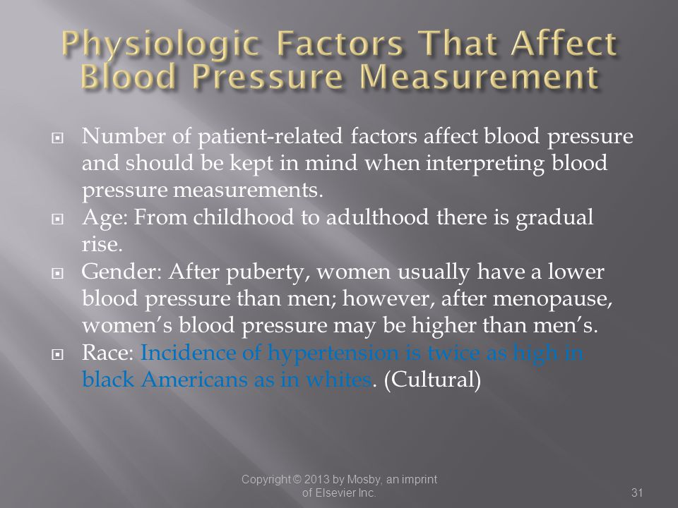 Physiologic Factors That Affect Blood Pressure Measurement