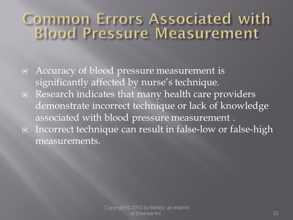 Common Errors Associated with Blood Pressure Measurement