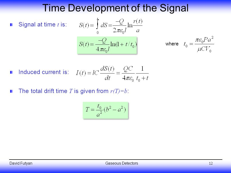Time Development of the Signal