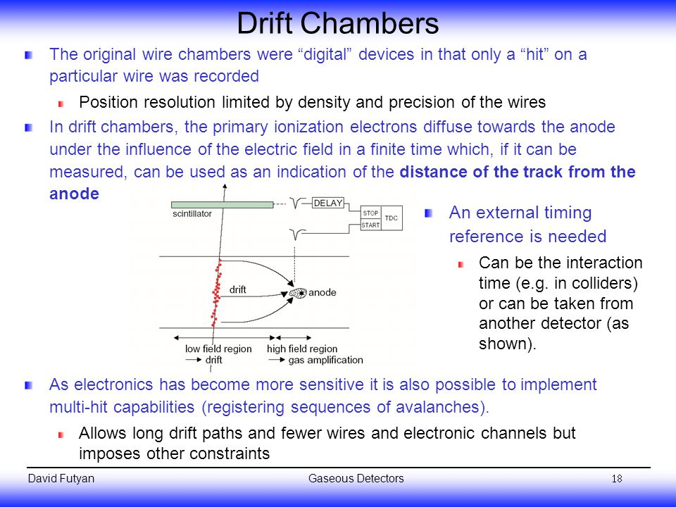 Drift Chambers An external timing reference is needed